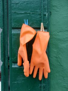 Making Lye Soap - Rubber gloves on shutter- Anayennisi Aromatics